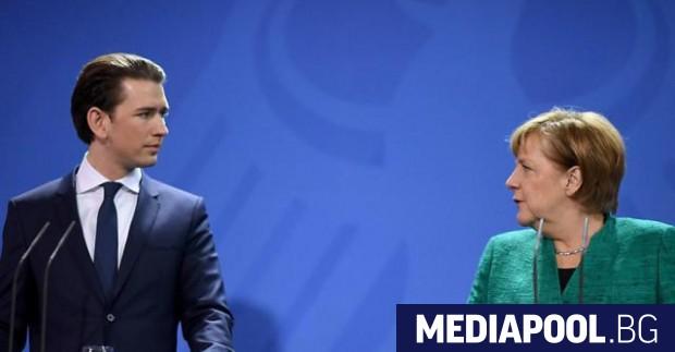 Себастиан Курц и Ангела Меркел Германският канцлер Ангела Меркел посрещна