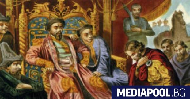 Княз Александър Невски умолява хан Бату да пощади руската земя,