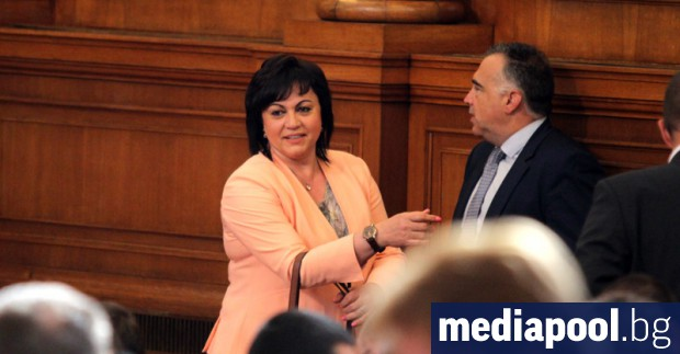 Корнелия Нинова и Антон Кутев от БСП в пленарната зала