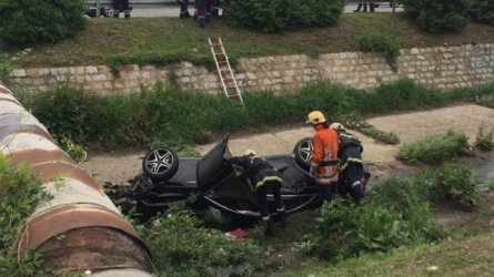 Кола помете три момичета и момче в София и падна в Перловската река