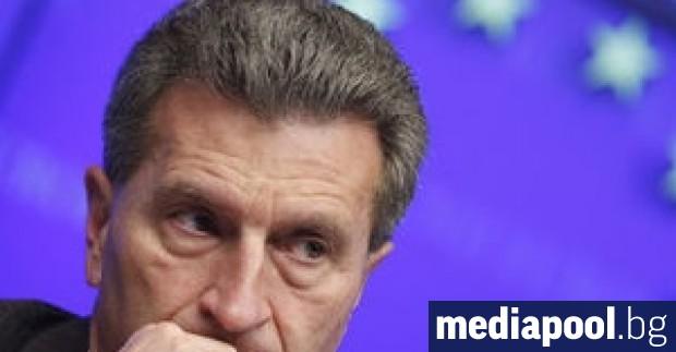 Еврокомисарят по бюджета Гюнтер Йотингер заяви, че очаква