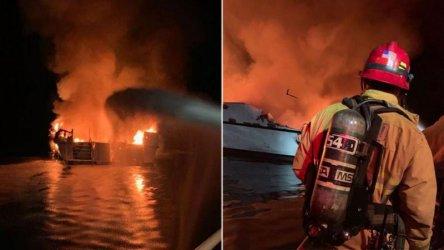 Само един човек от запалилото се край Калифорния корабче е още в неизвестност
