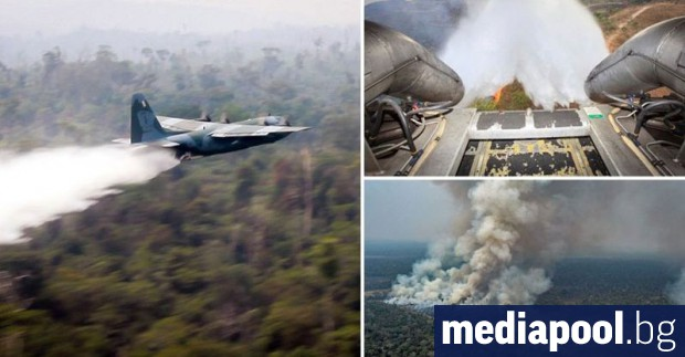 Бразилски военни самолети започнаха да обливат с вода горящите тропически