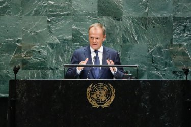 Пред ООН Доналд Туск се противопостави на тезите на президента Тръмп