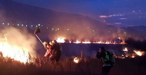 Голям пожар горя край летище София