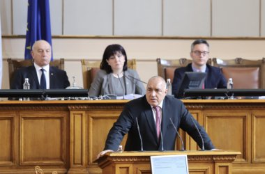PM Boyko Borissov speaking to Parliament after the vote to enact a state of emergency