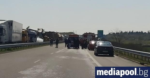 Двама шофьори на тежкотоварни камиони са загинали при верижна катастрофа