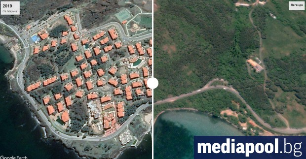 Сателитни снимки на места от българското Черноморие от периода 2003-2004