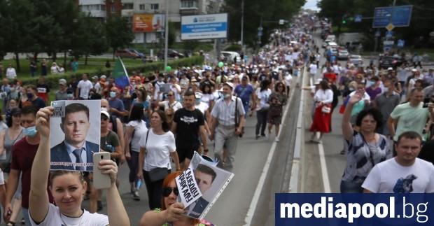 Хиляди демонстранти излязоха по улиците на град Хабаровск в руския
