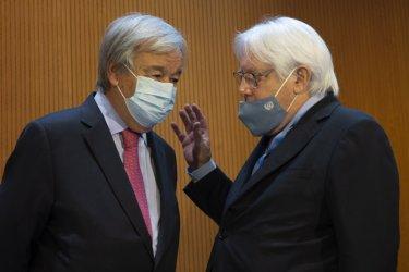 Генералният секретар на ООН Антониу Гутериш и неговият заместник Мартин Грифитс, сн. ЕПА/БГНЕС